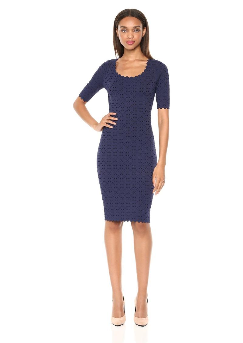 MILLY Women's Laser Cut Pointelle Scalloped Short Sleeve Sheath Knit Dress  S