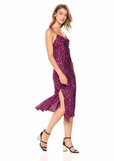 MILLY Women's Leopard Printed on Silk Scoop Cowl Neck Midi Jillian Dress