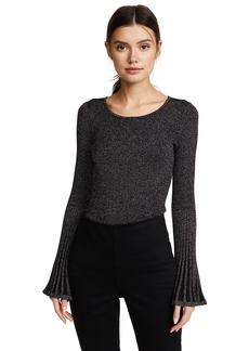 MILLY Women's Metallic Rib Flare Sleeve Sweater  S