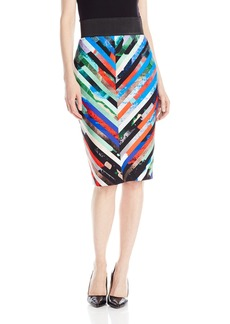 MILLY Women's Mirage Stripe Mitered Skirt