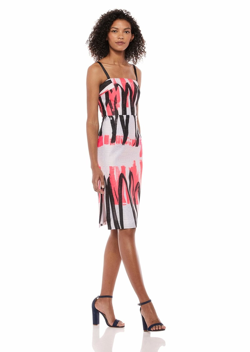 MILLY Women's Modern Scribble Print Spaghetti Strap Straight Pencil Dress