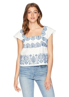 MILLY Women's Mykonos Embroidered Linen Cropped Flutter Sleeve Top  P
