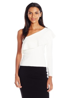 MILLY Women's One Shoulder Flounce Top  M