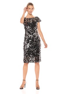 MILLY Women's Pailette Short Sleeve Slim Midi Linda Dress