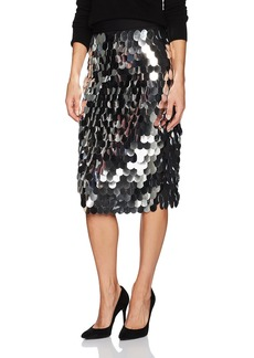 MILLY Women's Paillette Sequins Classic Midi Skirt