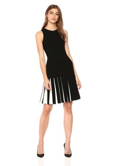 MILLY Women's Pleated Contrast Mermaid Dress  M