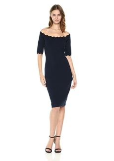 MILLY Women's Pointed Scallop Fitted Dress  P