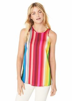 MILLY Women's Rainbow Print on Georgette Sleeveless Marie Tank Top