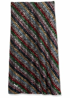 MILLY Women's Rainbow stripe Sequin Bias Skirt  S