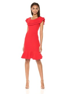 MILLY Women's Ribbed Knit Wide Neckline Textured Flounce Dress  L