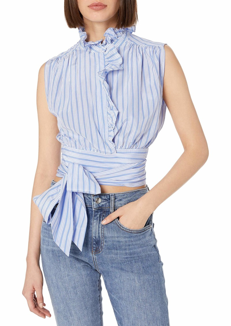 MILLY Women's Ruffled Wrap Top  M