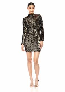 MILLY Women's Sequin Velvet Long Sleeve Turtleneck Mini Dress