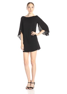 MILLY Women's Stretch Silk Flutter Sleeve Butterfly Mini Dress