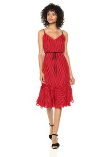 MILLY Women's Silk Georgette Polka Dot Midi Spaghetti Strap Tiffany Dress