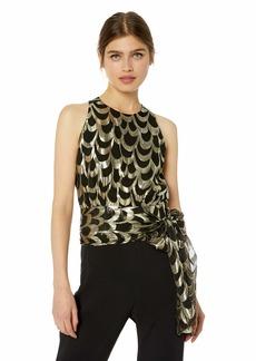 MILLY Women's Silk Lurex Chiffon Sleeveless Lauren Top