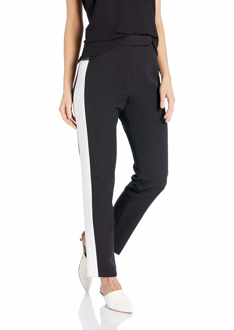 MILLY Women's Stretch Crepe Highwaist Side Combo Skinny Pant