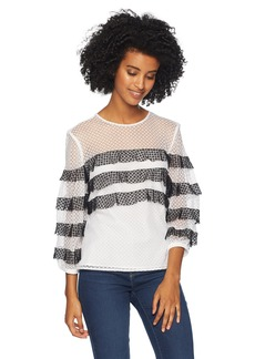 MILLY Women's Stretch Dots Mesh Long Sleeve Stripe Gabriella top  L