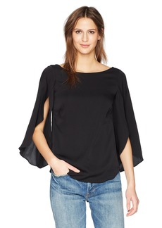 MILLY Women's Stretch Silk Crepe Crew Neckline Butterfly Blouse