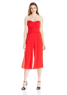 Milly Women's Stretch Silk Crepe Strapless Culotte Jumpsuit