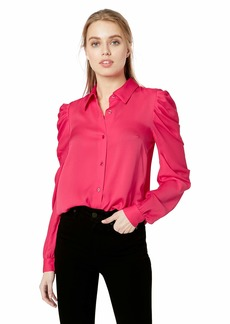 MILLY Women's Stretch Silk Long Sleeve with Ruffle Detail Charlie Top