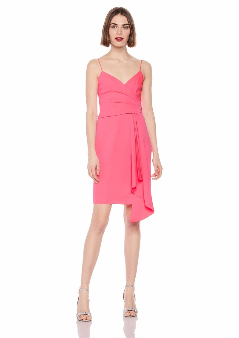 MILLY Women's Stretch Silk Spaghetti Strap Cindy Dress neon Pink