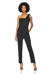 MILLY Women's Stretch Suiting One Sleeveless Shoulder Jumpsuit