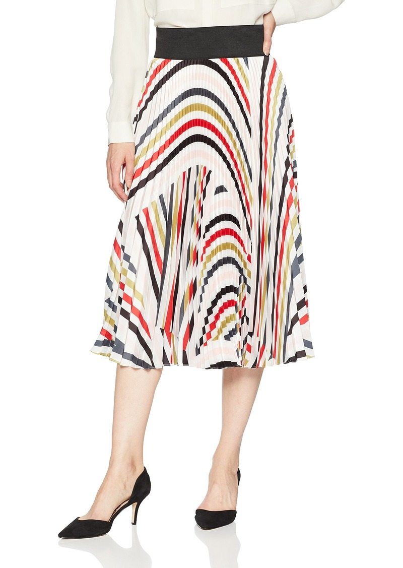 MILLY Women's Stripe Printed on Twill Pleated Midi Skirt