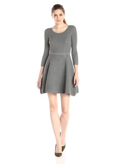 Milly Women's Textured Fit and Flare Long Sleeve Sweater Dress