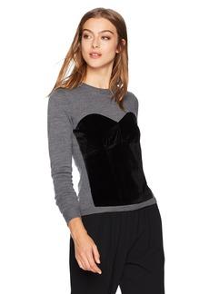 MILLY Women's Velvet Corsetry Sweater  M