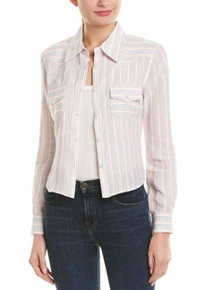 MILLY Women's Washed Linen Striped Button Down Western Cropped Shirt