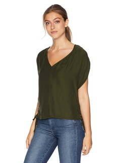 MILLY Women's Washed Silk Drawstring V-Neck Dolman Blouse with Side Ties  S