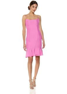 MILLY Women's Washed Stretch Silk Slim Mandy Dress with Ruffle Hem