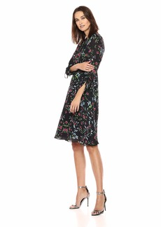 MILLY Women's Wildflower Printed on Silk 3/ Sleeve Diana Dress