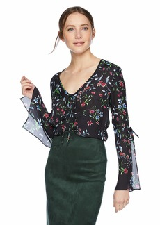 MILLY Women's Wildflower Printed on Silk Long Sleeve V-Neck Maggie top  S