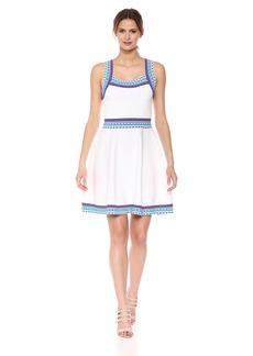 MILLY Women's Woven Trim Scoop Flare Dress  M