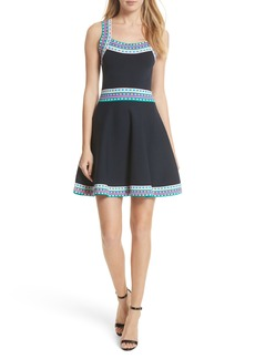 Milly Woven Trim Fit & Flare Dress