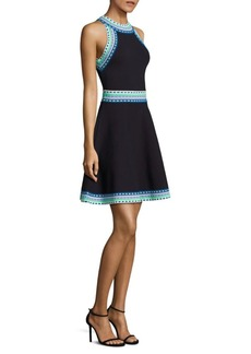 MILLY Woven Trim Flared Knit Dress
