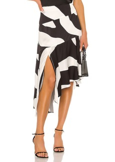 MILLY Zebra Print Viscose Asymmetrical Cascade Skirt