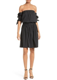 Milly Zoey Off the Shoulder Cotton Poplin Dress