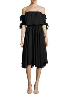 Milly Zoey Off-the-Shoulder Stretch-Silk Midi Dress