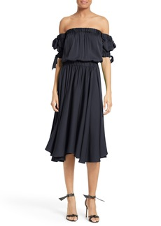 Milly Zoey Off the Shoulder Stretch Silk Midi Dress