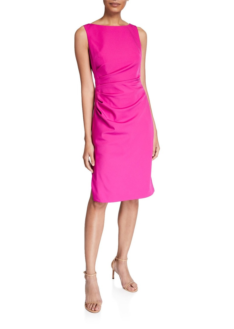 Milly Mishka Sleeveless Straight-Hem Ruched Cady Dress