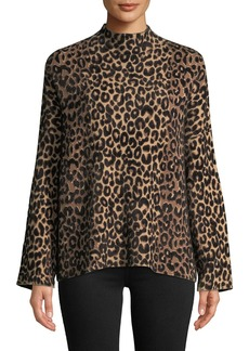 Milly Mock-Neck Long-Sleeve Textured Cheetah Sweater