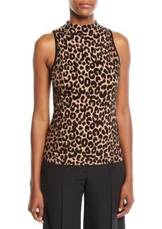 Milly Mock-Neck Sleeveless Cheetah-Textured Shell