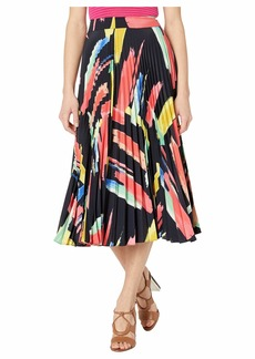 Milly Modern Brushstroke Print on Poly Twill Pleated Skirt