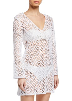 Milly Mykonos Crochet Long-Sleeve Coverup Tunic