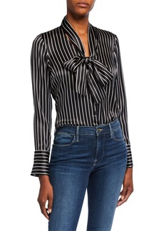 Milly Nia Striped Charmeuse Bow Top