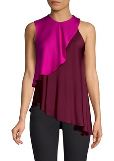 Milly Nora Stretch Silk Layered Halter Blouse