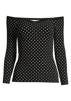 Milly Off-The-Shoulder Micro Dot Top