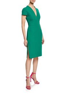 Milly Olivia V-Neck Short-Sleeve Italian Cady Dress with Thigh Slit